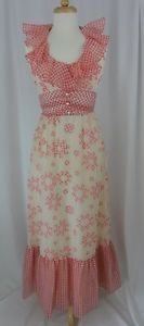 VTG-60s-70s-Pink-White-Flower-Power-GINGHAM-Checked-Evening-Gown-Dress-Groovy-S