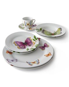 20-Piece Butterfly Dinnerware Service, White Pattern - Neiman Marcus