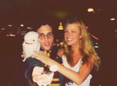 Penn Badgley (Dan) and Blake Lively (Serena) in Harry Potter costumes behind the scenes of Gossip Girl. #GG