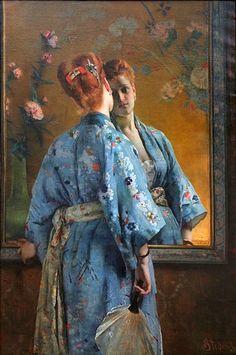 """George Hendrik Breitner, Jeune fille en kimono rouge, vers 1893, Gemeentemuseum La Haye, notice Le kimono d'été se dit """"yukata"""" en japonais, le mot kimono est formé de ki, vêtir, et de mono, chose. Dans le monde occidental, le kimono est un peignoir en étoffe légère, qui se porte"""
