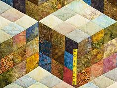 Hand Painted Tumbling Blocks Quilt by C. Jean Horst