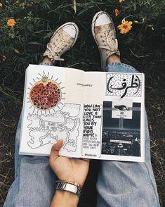 Got a new art journal // notebook, collage, words, watercolour, urdu Kunstjournal Inspiration, Sketchbook Inspiration, Bullet Journal Inspiration, Journal Notebook, Notebook Collage, Journals, Notebooks, Croquis Architecture, Art Sketches