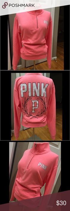 Pink by VS Sweatshirt Pink by VS Sweatshirt. 3/4 zip up. Size Small. Clean with no stains or pilling. Great color. Worn once. PINK Victoria's Secret Tops Sweatshirts & Hoodies