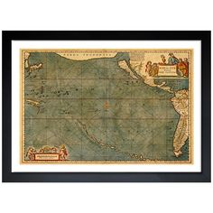 Oliver Gal 'Mare Pacificum Map 1600s' Framed Art Print