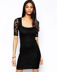 ASOS Square Neck Mini Bodycon Dress. This one is pretty with the sleeves, but I cant tell if its just short on that model or if it would really be that short.