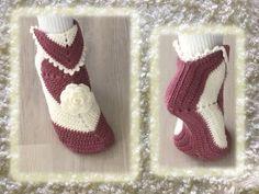 VIrkatusta neliöstä tehdyt tossut Slipper Socks, Crochet Slippers, Christmas Stockings, Booty, Knitting, Holiday Decor, Diy, Villas, Fashion