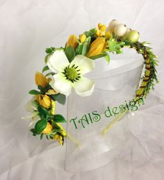 Yellow Hairband Wedding Headpiece Fairy Hair Tiara Flower Hair Wreath Boho Hair Accessories Photo Props Floral Headband by TAISdesign on Etsy