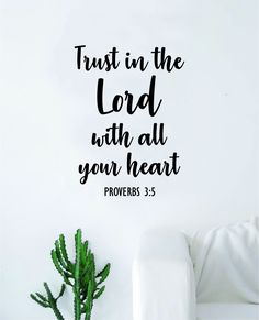 Trust in the Lord Proverbs Quote Wall Decal Sticker Bedroom Home Room Art Vinyl Inspirational Motivational Teen Decor Religious Bible Verse God Blessed Spiritual - brown