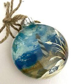 Lighthouse Christmas Tree Ornament Beach Hand Painted North Carolina Coastal Nautical East Coast Gl Ornaments