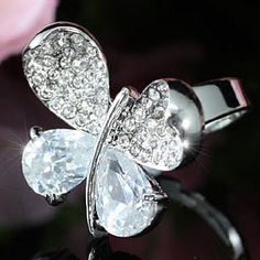 White Gold Butterfly Ring with Austrian Crystal