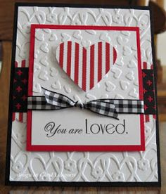 card with heart hearts handmade Valentine . color combo of red, white & black .two different embossing folder layers, both with heart motifs . Scrapbooking, Scrapbook Cards, Wedding Anniversary Cards, Wedding Cards, Stampin Up, Valentine Love Cards, Embossed Cards, Paper Cards, Creative Cards