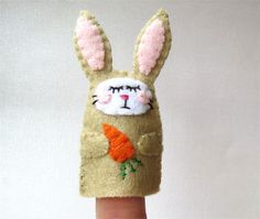 Finger puppet Rabbit - Embroidered Felt Bunny - Easter | Razzle Dazzle Creations | madeit.com.au