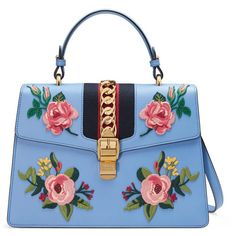 Gucci Sylvie Embroidered Bag ($3,500) ❤ liked on Polyvore featuring bags, handbags, gucci bags, embellished purses, blue handbags, blue purse and flower purse