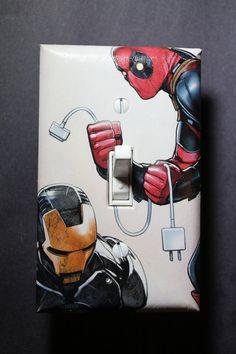 Deadpool Unplugs Iron Man Comic Book Superhero by ComicRecycled, $7.99