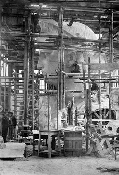 The head of the Statue of Liberty, designed by French sculptor Frederic Auguste Bartholdi, is seen inside a Paris studio around 1880.