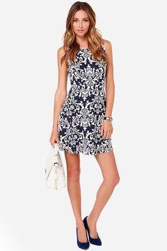 Navy Blue Dress - Jacquard Dress - Sleeveless Dress - Skater Dress - $70.00