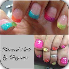 Summer nails & toes. #gel #glitter
