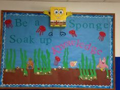 Spongebob bulletin board. He is made out of a Cheerios box!