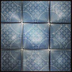 Blue porcelain slip cast tiles. Inlaid slip.   www.gisellehicks.com