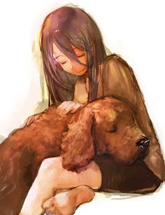 Love the sweetness of this little girl with the puppy sleeping on her lap.