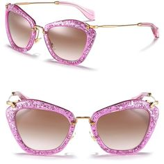 Miu Miu Vintage Matte Glitter Cat Eye Sunglasses ($390) ❤ liked on Polyvore
