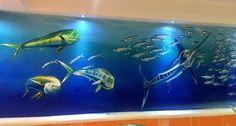 "Mural ""Azul profundo"" Acrílico sobre pared Hotel COZUMEL & RESORT"