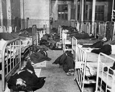 Chicago - The scene at a lodging house on North Union Avenue in November 1930, where homeless men were grateful for cots and floor space as the Chicago temperatures dropped near zero. Thousands in Chicago lost both jobs and housing and several shelters, some privately funded, sprung up around the city. (Tribune archive photo)