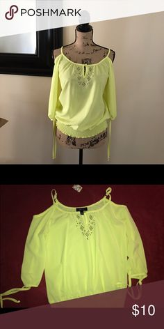 Mellow Yellow Sheer Peasant style embellished top Yellow cold shoulder 3/4 sleeve sheer blouse with keyhole closure and rhinestones accents on front. Pair with your favorite brown sandal, dress it up or down. Worn once on a movie date 2.5 hours. BCX Tops Blouses