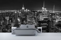 Panoramic New York Wall Mural Ideas In Bedroom Design With White Nightstand And Grey Bed Unit