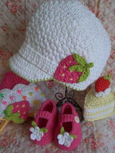 Crochet newsboy hat .. That strawberry is too cute