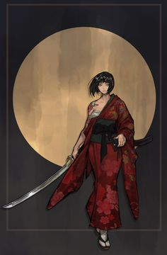 Japanese Art, Dungeons And Dragons, Female Art, Samurai, Fantasy Art, Beautiful Women, Darth Vader, Animation, Romantic