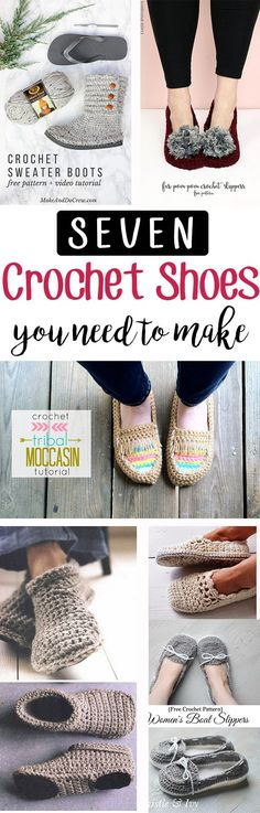 Seven of the best crochet shoe patterns out there! Make these quickly and easily with awesome patterns! | Free roundup from Sewrella