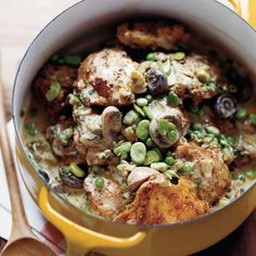 Beer-Braised Chicken Stew with Fava Beans and Peas | Chicken thigh recipes include Mario Batali's herb-and-cheese-stuffed chicken thighs and braised chicken thighs with basil. Plus more chicken thigh recipes.