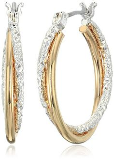 """Napier """"Napier Classics"""" Two-Tone Textured Click Top Hoop Earrings >>> You can find more details by visiting the image link."""