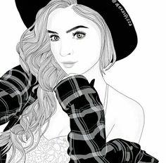 Outline art on We Heart It Tumblr Girl Drawing, Tumblr Sketches, Art Tumblr, Tumblr Drawings, Drawing Sketches, Drawing Art, Sketching, Tumblr Outline, Outline Art