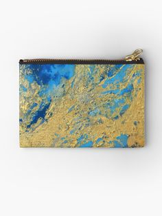 'Gold and Blue Abstract ' Zipper Pouch by JuliaFineArt Framed Prints, Canvas Prints, Art Prints, Blue Abstract, Zipper Pouch, Art Boards, Chiffon Tops, Zip Around Wallet, Gold