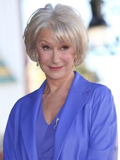 Helen Mirren: A Beautiful bob hair cut in natural silver white color and subtle layers that gives fine hair more texture. If you have thin hair you can keep length longer