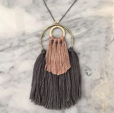 No. 2 // Fiber Necklace // Tassel Necklace by wildcolumbinetextile on Etsy https://www.etsy.com/listing/219068376/no-2-fiber-necklace-tassel-necklace