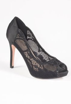 Mesh and Lace Mid Heel Open Toe Pump from Camille La Vie