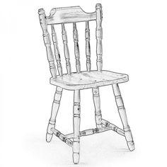 MARMORA. Una sedia dallo stile vintage dettato sicuramente dai dettagli torniti delle gambe e dello schienale fornita in legno di pino grezzo per poterla verniciare a piacimento.