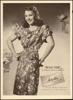 "Charming 1940s novelty print ""Beau Time"" dress from the Lady Alice Frock Company."