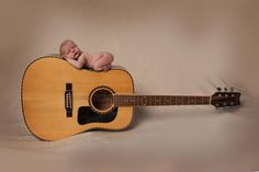 newborn picture with guitar by Studio 1923
