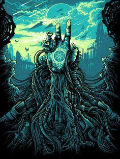 On Sale: Dan Mumford's 'Green Inferno' & 'Cognizance' Prints Dark Fantasy Art, Dark Art, Psychedelic Art, Pixel Art, Dan Mumford, Art Et Illustration, Horror Art, Art Design, Amazing Art