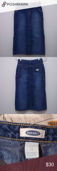 """Modest Denim Skirt Old Navy Blue Jeans Long 26"""" W Modest Denim Skirt Womens Size S Old Navy Blue Jeans Long 26"""" W Side Slits #1748  This skirt is in excellent used condition! I do not find holes, snags or stains.   Please check the measurements, not all sizes are created equally.  BRAND: Old Navy SIZE: S Tag says 12 but that is not possible as it is much too small. COLOR: Blue  MATERIAL: 100% Cotton  MEASUREMENTS-  Waist: 26""""  Length: 28""""  Hips: 34""""  1709 Old Navy Skirts Midi"""