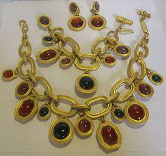 Vintage YSL Yves Saint Laurent Limited Edition (Signed & Numbered) Necklace Bracelet Earrings Parure Set |