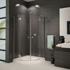 Decoration Interior. Fine Small Luxury Gray Bathrooms With White Soaking Freestanding Tub Also Chrome Console Vanities As Well As Cool Chandelier As Decorate Master Bathroom Decors: Terrific Minimalist Gray Bathrooms Design With Corner Shower Room Also Dark Grey Hardwood Vanity Added Ceiling Lamps Decors As Inspiring Modern Bathroom Pictures Decors