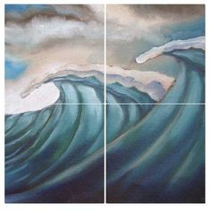 All My Walls Monsters Ocean by Olivier Longuet 4 Piece Original Painting Set Size: