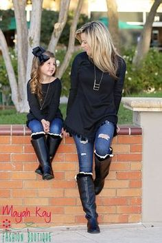 Mommy & Me Black Fringe Tunic - Toddlers & Girls Mom And Baby Outfits, Cute Little Girls Outfits, Kids Outfits, Mother Daughter Matching Outfits, Mother Daughter Fashion, Mother Daughter Pictures, Mother Daughter Photography, Moda Kids, Modele Hijab