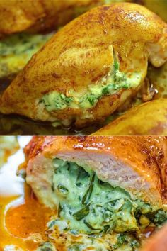 Quick Dinner Recipes, Quick Meals, Dinner Healthy, Lunch Recipes, Spinach Stuffed Chicken, Stuffed Chicken Recipes, Roast Chicken Breast Recipes, Simple Chicken Recipes, Italian Stuffed Chicken