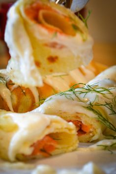 smoked salmon stuffed crepes with bechamel sauce. I make them with whole wheat crepes. My husband and kids love them! Crepes And Waffles, Savory Crepes, Pancakes, Seafood Recipes, Cooking Recipes, Seafood Crepes Recipe, Salmon Recipes, Sauce Recipes, Drink Recipes